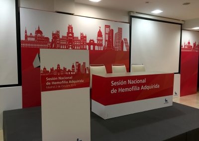 Decoración de stand y display para evento sobre Hemofilia