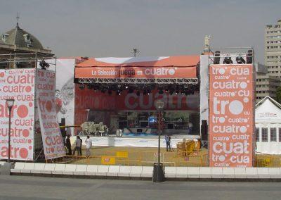Decoración, cartelería y lonas para evento de canal de televisión Cuatro